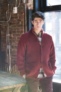 """Shield brioche faux cabled cardigan by Véronik Avery. Shown in color """"Long Johns"""". From Brooklyn Tweed's """"BT Men Volume 2"""" Collection. Photographed by Jared Flood. #btmenvolume2 #brooklyntweed #madeinUSA #shelteryarn #loftyarn #shield #cardigan"""