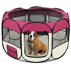 Special Offers - Tinkertonk Portable Pet Puppy Dog Playpen 45 Easy Storage Folding Design Waterproof Carrying Case (Burgundy) - In stock & Free Shipping. You can save more money! Check It (June 12 2016 at 11:23PM) >> dogcollarusa.net/...