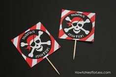 pirate birthday cupcake toppers