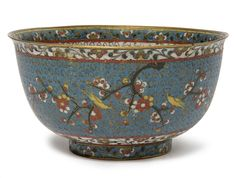 A CLOISONNÉ ENAMEL 'PRUNUS AND BIRD' BOWL  MING DYNASTY, 16TH-17TH CENTURY