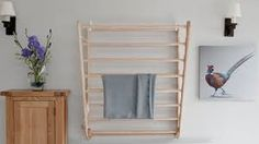 Laundry Ladder by Julu, is an attractive wall mounted wooden Clothes Airer. A luxury solution for indoor drying. Can also be taken outside on warm sunny days Wall Mounted Clothes Airer, Wall Mounted Drying Rack, Ladder Storage, Wall Storage, Indoor Clothes Drying Rack, Drying Rack Laundry, Linen Closet Organization, Decoration, Interior Design Living Room