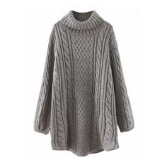 Gray High Neck Cable Long Sleeve Knit Dress ($50) ❤ liked on Polyvore featuring dresses, sweaters, tops, vestidos, longsleeve dress, cable knit dress, grey long sleeve dress, long sleeve knit dress and cable dress