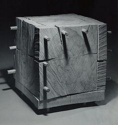 David Nash (British, born 1945). Cracking Box, 1984,  Beech