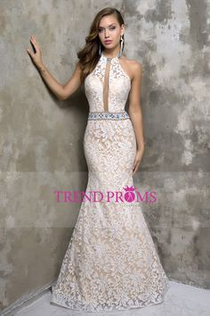 2016 New Arrival Halter Lace With Beads Lace Sweep Train Mermaid Prom Dresses
