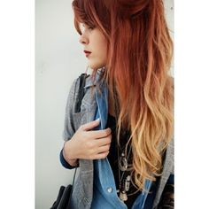 Red Ombre Hair Colors Ideas via Polyvore
