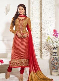 Red & Beige Indian Punjabi salwar kameez suit
