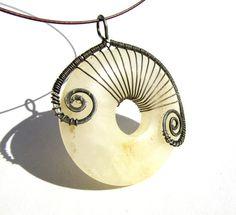 "Large ""Art Nouveau"" Pendant - Cream Agate Cabochon Donut Wrapped with Antique Bronze Wire - 2.1"" x 2.5"""