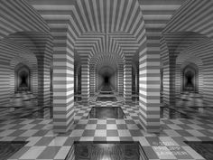 Wide-angle view of a seemingly endless vault. Draft. 2020, giclée print. Watermarked preview. #architecture #vaults #pillars #hallway #corridor #underground #pools #waterbasins #symmetry #eclecticism #ancientbuildings #passage #waterreflections #gangway #infinity #endless #darkness #labyrinth #wideshot #banded #tiles #arches