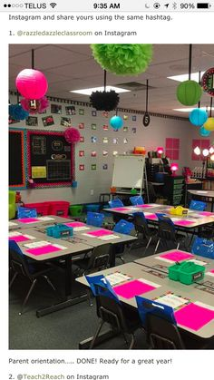 VERY creative and outgoing set up for a kindergarten classroom. Seating Chart Classroom, Classroom Design, Future Classroom, School Classroom, Classroom Themes, Classroom Organization, Classroom Ceiling Decorations, Kindergarten Classroom Layout, 4th Grade Classroom Setup