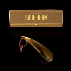 Schuhanzieher Shoe Horn, Messing, Horns, Plating, Brass, Beige, Gold, Leather Cord, Horn