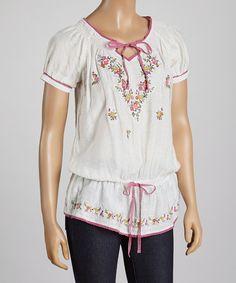 White & Pink Floral Notch-Neck Top by Radzoli #zulily #zulilyfinds