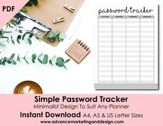 Password Tracker Planner Printable - Minimalism Design, Organiser Page for Passwords, INSTANT DOWNLOAD A4, A5, Letter Sizes
