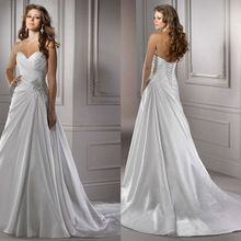 Elegant A Line Chapel Train Pleated Bodice Crystal Brooch Floor Length Wedding Dress Bridal Gown With Lace Up Closure(China (Mainland))