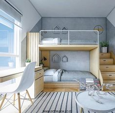 Find the most cozy, modern and luxury dream rooms for kids here. Kids Bedroom Designs, Bunk Bed Designs, Home Room Design, Kids Room Design, Bedroom Ideas, Small Home Interior Design, Bedroom Decor, Bunk Bed Rooms, Bunk Beds
