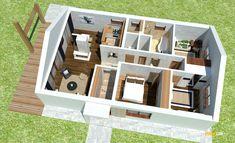 Nízkorozpočtový projekt domu bungalov na úzke pozemky Plans Loft, House Plans, Shelves, Design, Home Decor, Houses, Type 1, Shelving, Decoration Home