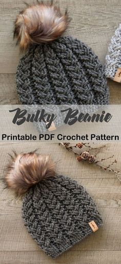 Make a Cozy Beanie - Make one of these cozy hat crochet patterns today! winter hat crochet patterns – bulky yarn hat p - Crochet Gratis, Crochet Motifs, Knit Or Crochet, Crochet Scarves, Crochet Patterns, Baby Hat Crochet, Diy Crochet Gifts, Crochet Beanie Pattern, Crochet Hat Tutorial
