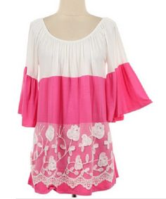 Pretty in Pink Lace and Floral Print Tunic Top