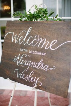 Wedding Welcome Sign by Love Light Letter Co. - Elegant Purple and Green Wedding Inspiration at the Luxmore Grande Estate - Central Florida Wedding - Photo: Brittany Bishop Photography- Orange Blossom Bride - www.orangeblossombride.com - click pin for more