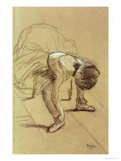 Seated Dancer Adjusting Her Shoes, 1890 - Edgar Degas