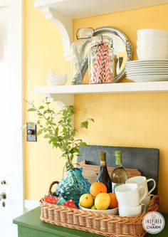 A Summer Dining Room - color is Afternoon by Sherwin Williams green kitchen / yellow dinning room Kitchen Dining, Kitchen Decor, Kitchen Styling, Kitchen Ideas, Dining Room Colors, Yellow Dining Room, Kitchen Colors, Dining Rooms, White Dishes