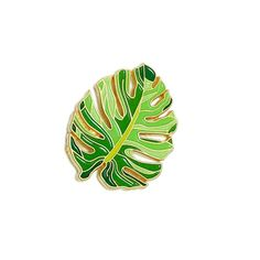 Tropical Leaf Lapel Pin - Botanical Enamel Pin - Jungle Monstera Leaf - Gold and Green Leaf Illustration Pin Leaf Illustration, Welcome To The Jungle, Pin And Patches, Cute Pins, Lilo And Stitch, Tropical Leaves, Pin Badges, Leaf Design, Lapel Pins