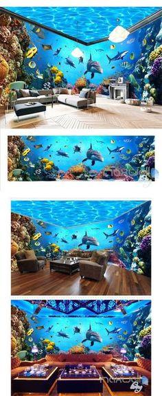 Underwater world aquarium theme space entire room wallpaper wall mural decal IDCQW-000044