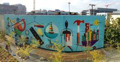 VISIT MURAL  100' x 23' mural illustration + design in South Lake Union, Seattle.  Creative Director: Josh Lackey. Muralist: Don Rockwell.