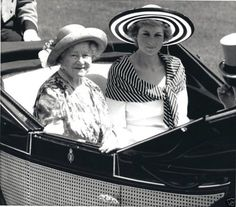 The Queen Mother and Diana at Ascot