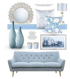 """Light Blue"" by monmondefou ❤ liked on Polyvore featuring interior, interiors, interior design, home, home decor, interior decorating, Quoizel, John Robshaw, Trend Lighting and Lazy Susan"