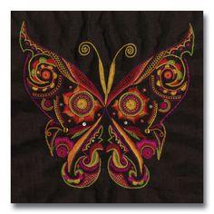 Broderie Glazig. Superbe papillon !note d'erminig: pour moi, l'essence du glazig, c'est une certaine forme d'abstraction... mais bon, c'est une très belle pièce.