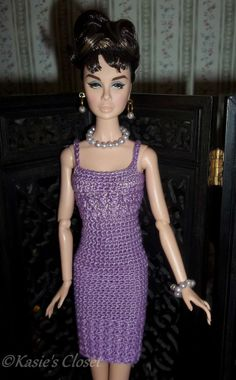 Crochet fashion dress for FR Poppy Parker Barbie Basics Model Muse