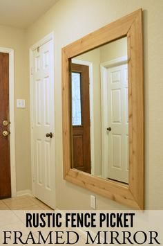 Check out how an old bathroom mirror and a couple of fence pickets transforms into a rustic fence picket framed mirror. Rustic Shutters, Rustic Fence, Wooden Fence, Cool Mirrors, Diy Mirror, Cedar Fence, Fence Gate, Yard Fencing, Gabion Fence