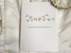 Summer Bunting Wedding Breakfast Menus from the Summer Bunting Wedding Invitation Range. Shop online at www.daisychaininvites.co.uk