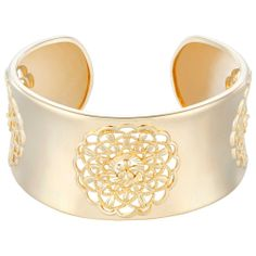18k Gold Over Sterling Silver Intricate Flower Cuff Bracelet #prom