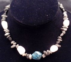 Items similar to White Calcite, Grey Marble, Black Facited stone, and Blue Jasper Necklace on Etsy Jasper, Pearl Necklace, Marble, Pearls, Stone, Grey, Blue, Jewelry, Batu
