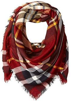 La Fiorentina Women's Oversized Square Plaid Scarf, Red, One Size at Amazon Women's Clothing store: