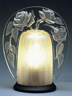 Art Deco Perfume Lamp: Rose, René Lalique, 1921, 18 x 14 x 9.5 cm