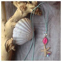 Wildlederkette *Beachgold* Seestern pink türkis von MermaidsJewellery auf DaWanda.com