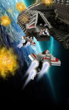 LEGO Vipers landing BSG- OMG battlestar galactica
