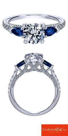 work/… This Amavida Engagement Ring by Gabriel & Co. is a work of art. An white gold diamond and sapphire three stone contemporary engagement ring will make your bride-to-be say yes! Discover your perfect engagement ring or customize your own on Diamond Rings, Diamond Engagement Rings, Diamond Cuts, Diamond Jewelry, Sapphire Jewelry, Marcasite Jewelry, Ruby Rings, Solitaire Diamond, Engagement Bands