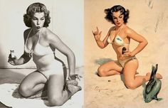Gil Elvgren (March 15, 1914 – February 29, 1980), born Gillette Elvgren in Saint Paul, Minnesota, was an American painter of pin-up girls, advertising and illustration. Elvgren was one of the most important pin-up and glamour artists of the twentieth century. Today he is best known for his pin-up paintings for Brown & Bigelow. Elvgren studied at the American Academy of Art.  This one is a fine example of his working style.  He would often take a quick series of posed photos to minimize the…