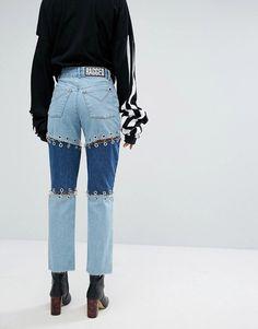 The Ragged Priest Black Label Premium Patchwork Jeans With Piercings – Die Ragged Priest Black Label Premium Patchwork Jeans mit Piercings – Patchwork Jeans, Denim Fashion, Look Fashion, Fashion Design, Fashion Black, Diy Clothing, Custom Clothes, Latest Fashion Clothes, Fashion Outfits