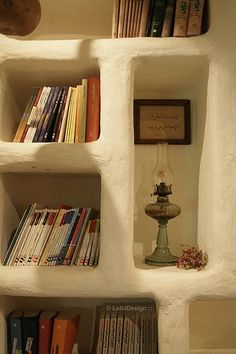 Built-in book shelf in a cob house :)