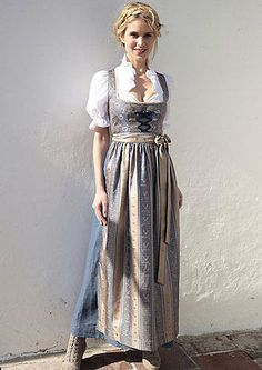 Dirndl Oktoberfest Trachtenkleid lang Dirndl Hannah blau-gold Gr.46 in Kleidung & Accessoires | eBay