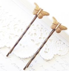 Butterfly Hair Pins - Bobby Pin Set - Woodland - Bridal - Ox Brass Butterfly - Wedding Hair - Nature - Wings by NestingPretty #TrendingEtsy