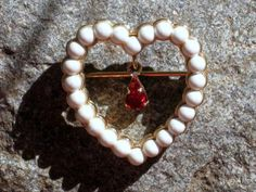 Red Rhinestone and Faux Pearl Heart Brooch