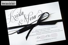 Graafinen suunnittelu – Kristan ja Vesan häät – Kutsukortti, hääinfo, menu- ja ohjelmakortti, pöytäkartta ja kiitoskortti » Makea Design // Valokuvaus / Graafinen suunnittelu / Juhlasuunnittelu / Sisustussuunnittelu