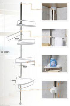 Telescopica-ajustable-ducha-Organizador-Caddy-Bano-durable-Estante-Rack-de-almacenamiento