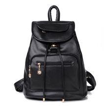 Nuevo 2016 bolsa de la escuela hombros mujeres mochila bolsas de viaje femeninos nuevo viento marea de la pu bolso de cuero negro suave(China (Mainland))