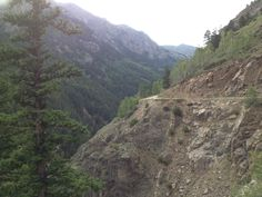 Shelf Road from Canon City to Cripple Creek, CO.   Yes - I drove it once.  White knuckles and shaking knees!